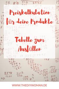 Preiskalkulation für handgemachte Produkte - Tabelle zum Ausfüllen